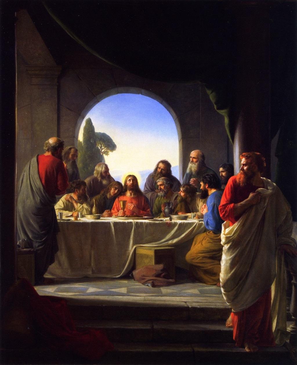 Das letzte Abendmahl, mit Judas vorne rechts, Carl Bloch, spätes 19. Jh. [public domain, via Wikimedia]
